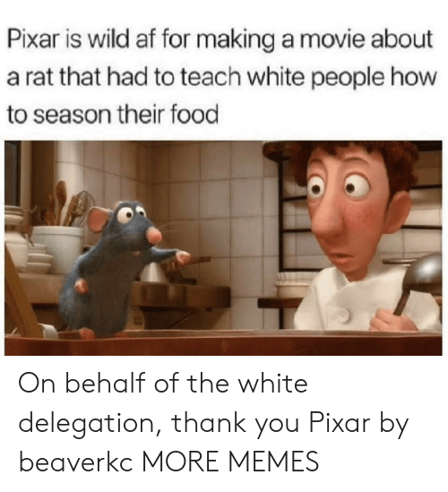 Af, Dank, and Food: Pixar is wild af for making a movie about  a rat that had to teach white people how  to season their food On behalf of the white delegation, thank you Pixar by beaverkc MORE MEMES