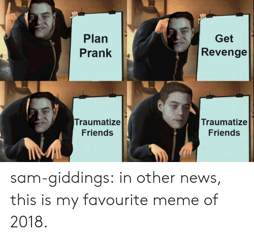 Friends, Meme, and News: Plan  Prank|  Get  Revenge  Traumatize  Friends  Traumatize  Friends sam-giddings:  in other news, this is my favourite meme of 2018.
