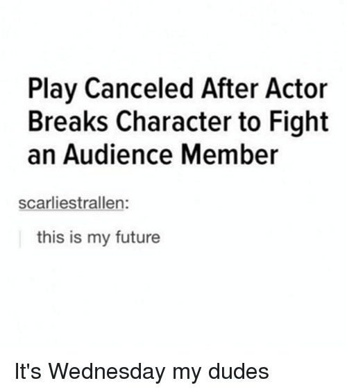 Its Wednesday My Dudes: Play Canceled After Actor  Breaks Character to Fight  an Audience Member  scarliestrallen:  this is my future It's Wednesday my dudes
