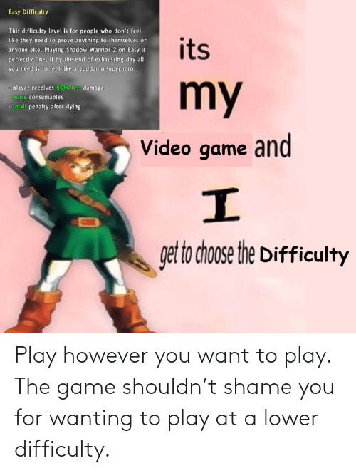 however: Play however you want to play. The game shouldn't shame you for wanting to play at a lower difficulty.