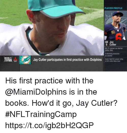 Dolphinately: PLAYER PROFILE  OB Jay  6 Cutler  68-71 career as starter  (DEN, CHI)  3 winning seasons  as starter  TRAINING  CAMP LIVE  Jay Cutler participates in first practice with Dolphin  Career-high 92.3 passer rating  in 2015 under Adam Gase  nr iomsar ai  MOTORS His first practice with the @MiamiDolphins is in the books.   How'd it go, Jay Cutler?#NFLTrainingCamp https://t.co/igb2bH2QGP