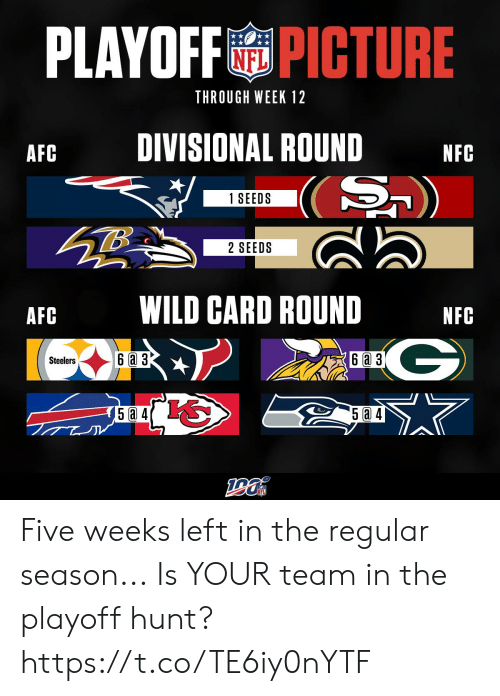 Memes, Steelers, and Wild: PLAYOFFPICTURE  THROUGH WEEK 12  DIVISIONAL ROUND  AFC  NFC  (S)  1 SEEDS  2 SEEDS  WILD CARD ROUND  AFC  NFC  G  6a 3  6 a 3  Steelers  5a 4 Five weeks left in the regular season...  Is YOUR team in the playoff hunt? https://t.co/TE6iy0nYTF