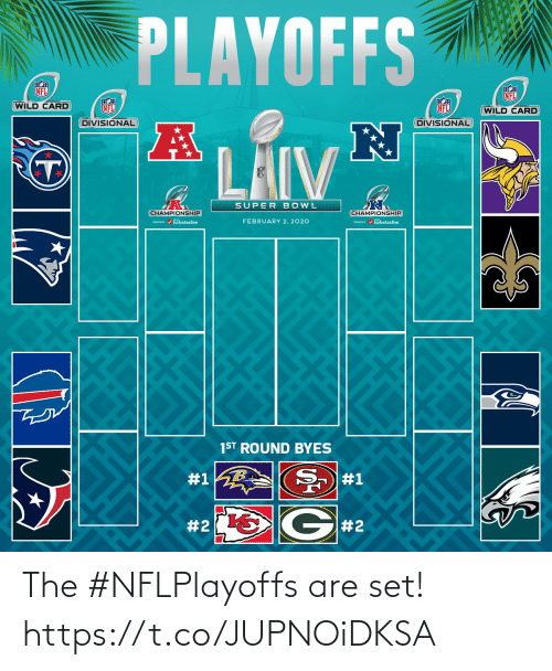 2 2: PLAYOFFS  NFL  NFL  WILD CARD  NFL  NFL  (WILD CARD  DIVISIONAL  DIVISIONAL  LAIV  SUPER BOWL  CHAMPIONSHIP  CHAMPIONSHIP  / turbotaxlive  FEBRUARY 2, 2020  m / turbotaxlive  1ST ROUND BYES  #1  #1  G#2  The #NFLPlayoffs are set! https://t.co/JUPNOiDKSA