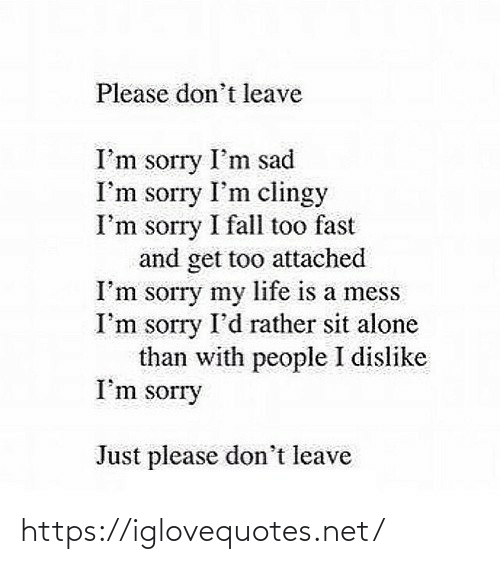 Fall: Please don't leave  I'm sorry I'm sad  I'm sorry I'm clingy  I'm sorry I fall too fast  and get too attached  I'm sorry my life is a mess  I'm sorry I'd rather sit alone  than with people I dislike  I'm sorry  Just please don't leave https://iglovequotes.net/