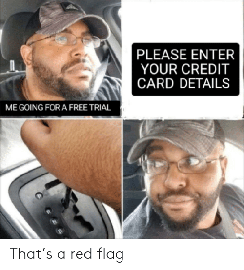 enter: PLEASE ENTER  YOUR CREDIT  CARD DETAILS  ME GOING FOR A FREE TRIAL That's a red flag