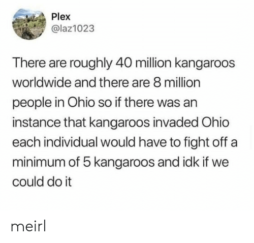 Ohio, Plex, and MeIRL: Plex  @laz1023  There are roughly 40 million kangaroos  worldwide and there are 8 million  people in Ohio so if there was an  instance that kangaroos invaded Ohio  each individual would have to fight off a  minimum of 5 kangaroos and idk if we  could do it meirl