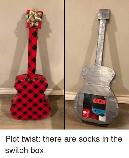 Dank, 🤖, and Box: Plot twist: there are socks in the switch box.