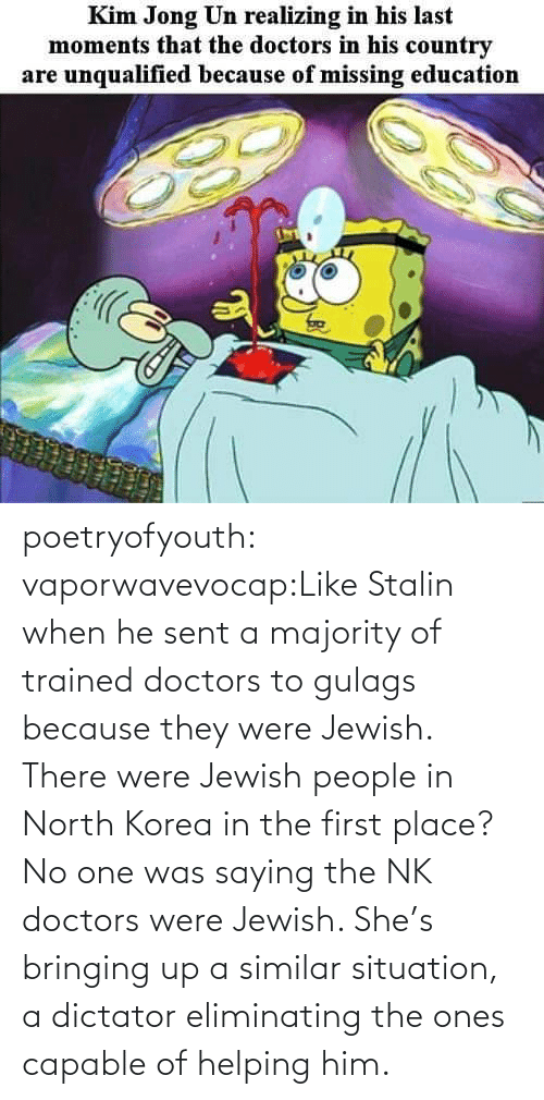 No One: poetryofyouth:  vaporwavevocap:Like Stalin when he sent a majority of trained doctors to gulags because they were Jewish. There were Jewish people in North Korea in the first place?   No one was saying the NK doctors were Jewish. She's bringing up a similar situation, a dictator eliminating the ones capable of helping him.