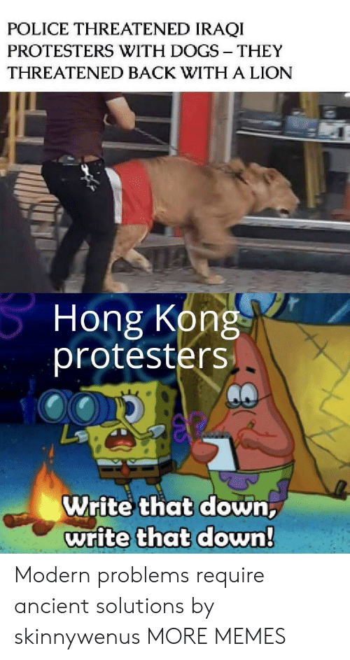 Ancient: POLICE THREATENED IRAQI  PROTESTERS WITH DOGS THEY  THREATENED BACK WITH A LION  Hong Kong  protesters  Write that down,  write that down! Modern problems require ancient solutions by skinnywenus MORE MEMES