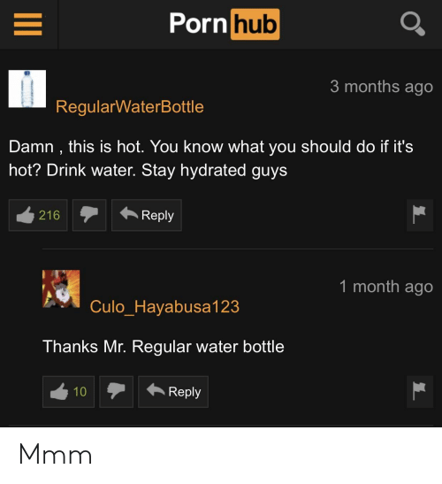 Porn Hub, Porn, and Water: Porn hub  3 months ago  RegularWaterBottle  Damn, this is hot. You know what you should do if it's  hot? Drink water. Stay hydrated guys  216Rey  1 month ago  CuloHavabusa123  Thanks Mr. Regular water bottle  Reply Mmm