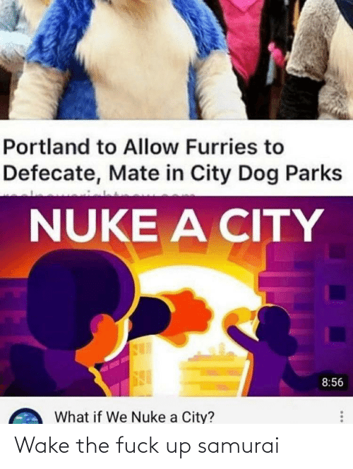 Samurai, Fuck, and Portland: Portland to Allow Furries to  Defecate, Mate in City Dog Parks  NUKE A CITY  8:56  What if We Nuke a City? Wake the fuck up samurai
