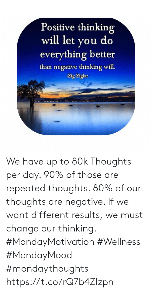 Change, Zig Ziglar, and Day: Positive thinking  will let you do  everything better  than negative thinking will.  Zig Ziglar We have up to 80k Thoughts per day. 90% of those are repeated thoughts. 80% of our thoughts are negative. If we want  different results, we  must change our  thinking. #MondayMotivation #Wellness  #MondayMood #mondaythoughts https://t.co/rQ7b4ZIzpn