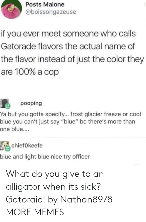 """glacier: Posts Malone  @boissongazeuse  if you ever meet someone who calls  Gatorade flavors the actual name of  the flavor instead of just the color they  are 100% a cop  pooping  Ya but you gotta specify... frost glacier freeze or cool  blue you can't just say """"blue"""" bc there's more than  one blue....  chiefOkeefe  blue and light blue nice try officer What do you give to an alligator when its sick? Gatoraid! by Nathan8978 MORE MEMES"""