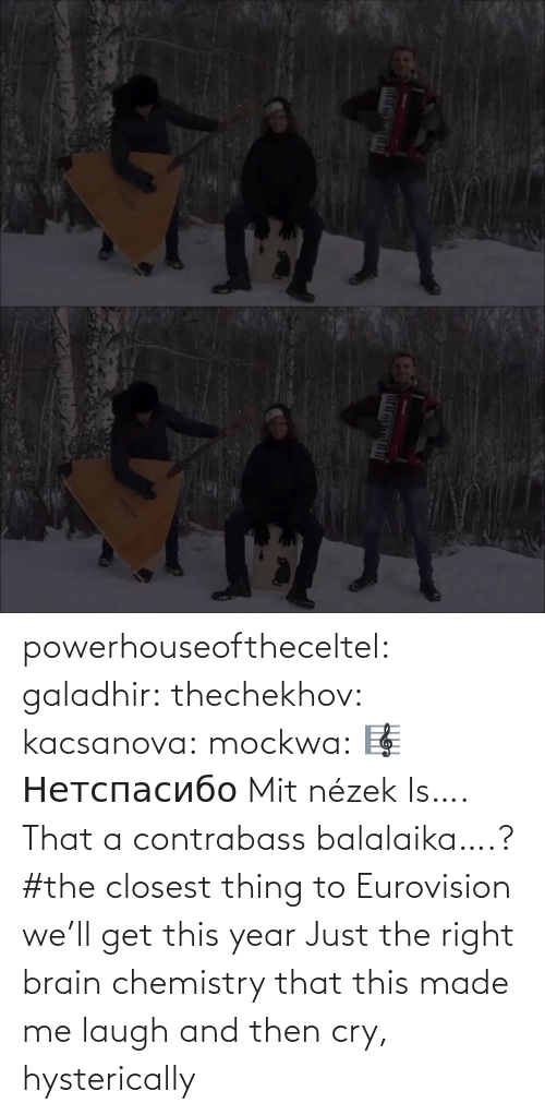 chemistry: powerhouseoftheceltel: galadhir:  thechekhov:  kacsanova:  mockwa:    🎼  Нетспасибо  Mit nézek    Is…. That a contrabass balalaika….?    #the closest thing to Eurovision we'll get this year    Just the right brain chemistry that this made me laugh and then cry, hysterically