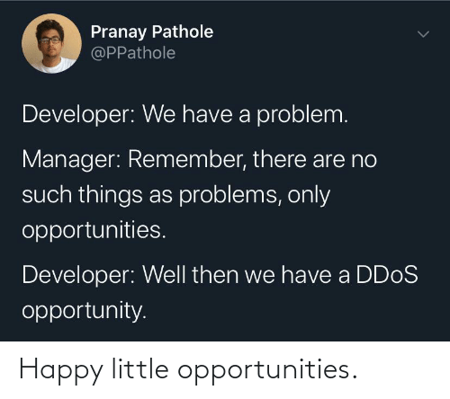such: Pranay Pathole  @PPathole  Developer: We have a problem.  Manager: Remember, there are no  such things as problems, only  opportunities.  Developer: Well then we have a DD0S  opportunity. Happy little opportunities.