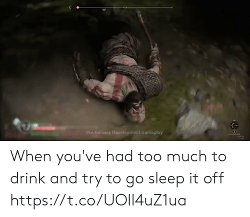 Too Much, Sleep, and Development: Pre-Reloase Development Gameplay When you've had too much to drink and try to go sleep it off https://t.co/UOIl4uZ1ua