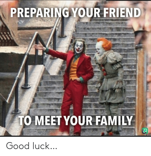 good luck: PREPARING YOUR FRIEND  TO MEET YOUR FAMILY Good luck…