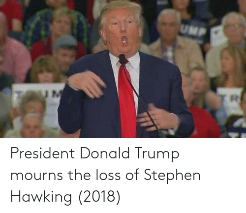 Donald Trump: President Donald Trump mourns the loss of Stephen Hawking (2018)