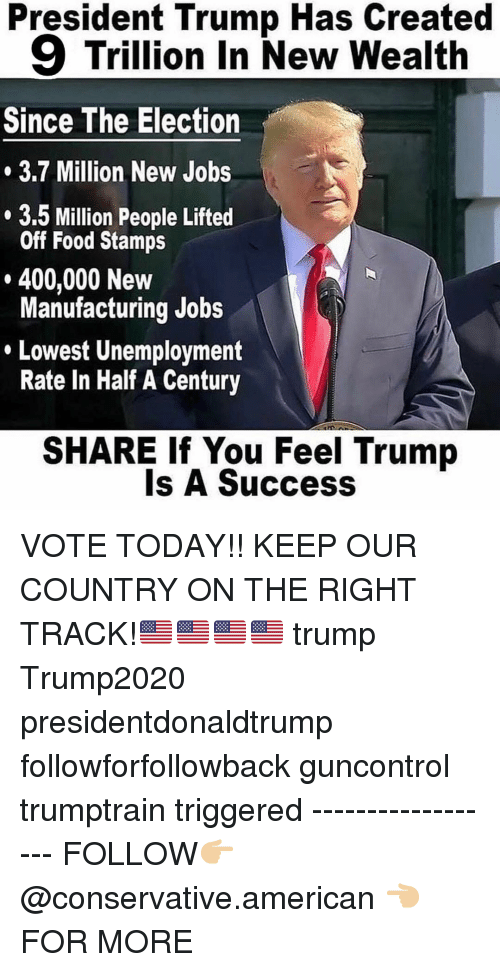 Trump Is A: President Trump Has Created  9 Trillion In New Wealth  Since The Election  3.7 Million New Jobs  3.5 Million People Lifted  Off Food Stamps  400,000 New  Manufacturing Jobs  Lowest Unemployment  Rate In Half A Century  SHARE If You Feel Trump  Is A Success VOTE TODAY!! KEEP OUR COUNTRY ON THE RIGHT TRACK!🇺🇸🇺🇸🇺🇸🇺🇸 trump Trump2020 presidentdonaldtrump followforfollowback guncontrol trumptrain triggered ------------------ FOLLOW👉🏼 @conservative.american 👈🏼 FOR MORE