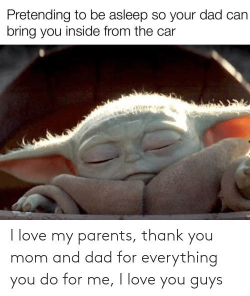You Mom: Pretending to be asleep so your dad can  bring you inside from the car I love my parents, thank you mom and dad for everything you do for me, I love you guys