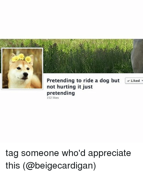 Riding A Dog: Pretending to ride a dog but  Liked  not hurting it just  pretending  152 likes tag someone who'd appreciate this (@beigecardigan)