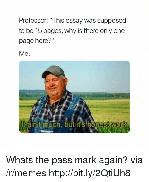 "Memes, Http, and Only One: Professor: ""This essay was supposed  to be 15 pages, why is there only one  page here?""  Me:  t aint auch, but it's honestwork  0 Whats the pass mark again? via /r/memes http://bit.ly/2QtiUh8"