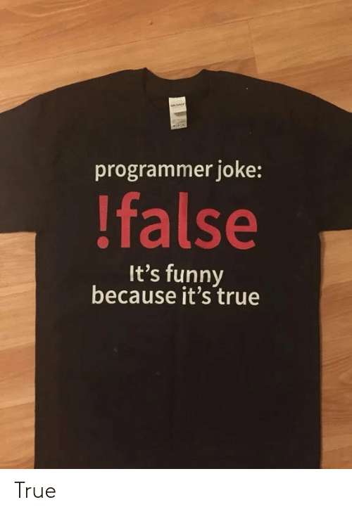 Its Funny Because Its True: programmer joke:  !false  It's funny  because it's true True