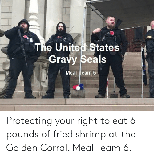 team: Protecting your right to eat 6 pounds of fried shrimp at the Golden Corral. Meal Team 6.