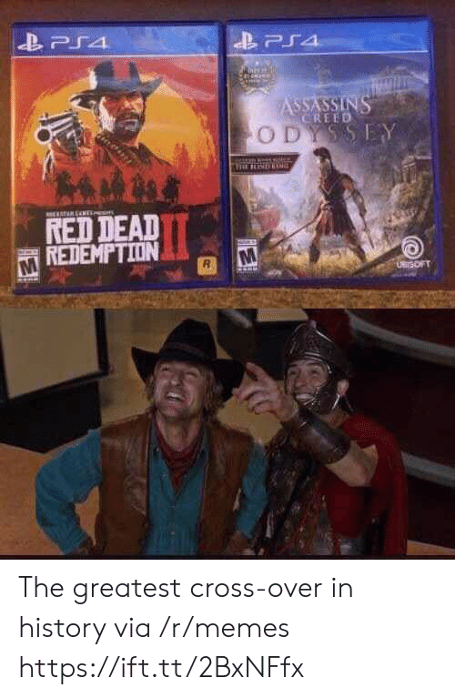 Memes, Ps4, and Assassin's Creed: PS4  ASSASSINS  CREED  ODYSSEY  TARENE  RED DEAD  REDEMPTION  UBrSOFT The greatest cross-over in history via /r/memes https://ift.tt/2BxNFfx