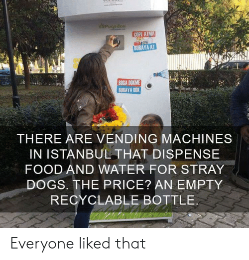 cope: PugEdoN  COPE ATMA  BURAYA AT  BOSA DOKME  BURAYA DOK  THERE ARE VENDING MACHINES  IN ISTANBUL THAT DISPENSE  FOOD AND WATER FOR STRAY  DOGS. THE PRICE? AN EMPTY  RECYCLABLE BOTTLE Everyone liked that