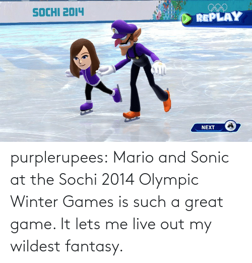 such: purplerupees: Mario and Sonic at the Sochi 2014 Olympic Winter  Games is such a great game. It lets me live out my wildest fantasy.