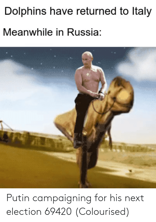 election: Putin campaigning for his next election 69420 (Colourised)