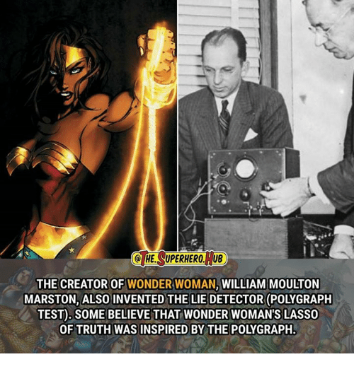 polygraph: Q HE SUPERHERO, TUB  THE CREATOR OF WONDER WOMAN, WILLIAM MOULTON  MARSTON, ALSO INVENTED THE LIE DETECTOR (POLYGRAPH  TEST). SOME BELIEVE THAT WONDER WOMAN'S LASSO  OF TRUTH WAS INSPIRED BY THE POLYGRAPH.