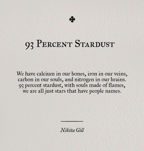 Bones, Brains, and Stars: Q2 PERCENT STARDUST  We have calcium in our bones, iron in our veins,  carbon in our souls, and nitrogen in our brains.  93 percent stardust, with souls made of flames,  we are all just stars that have people names.  Nikita Gill