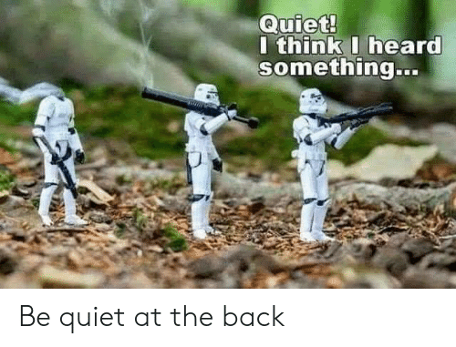 Quiet, Back, and Think: Quiet!  I think I heard  something.. Be quiet at the back