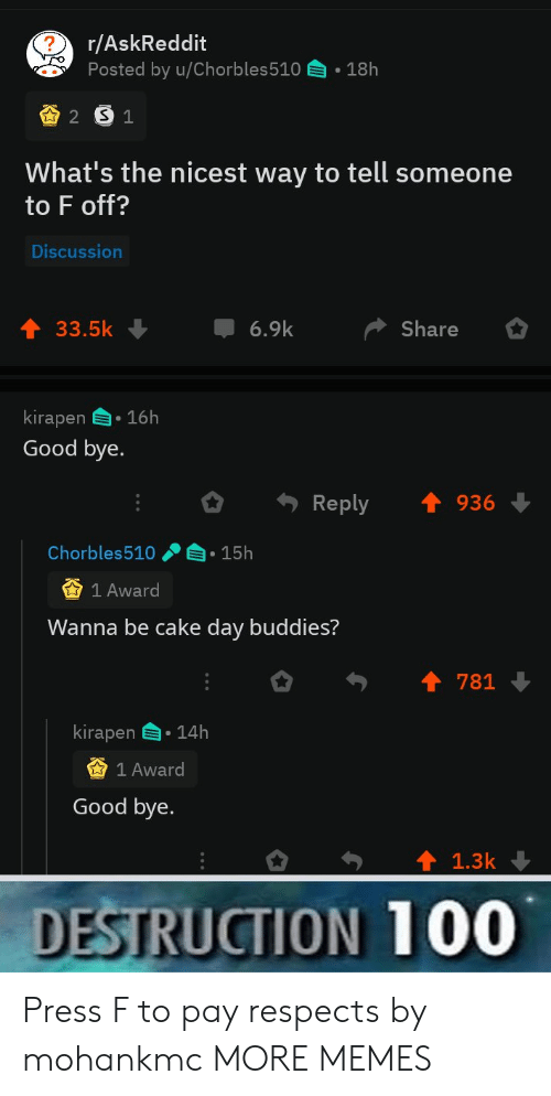 good bye: r/AskReddit  Posted by u/Chorbles510  18h  2 S1  What's the nicest way to tell someone  to F off?  Discussion  6.9k  33.5k  Share  kirapen 16h  Good bye.  Reply  936  Chorbles510  15h  1 Award  Wanna be cake day buddies?  781  kirapen  14h  1 Award  Good bye.  1.3k  DESTRUCTION 100 Press F to pay respects by mohankmc MORE MEMES