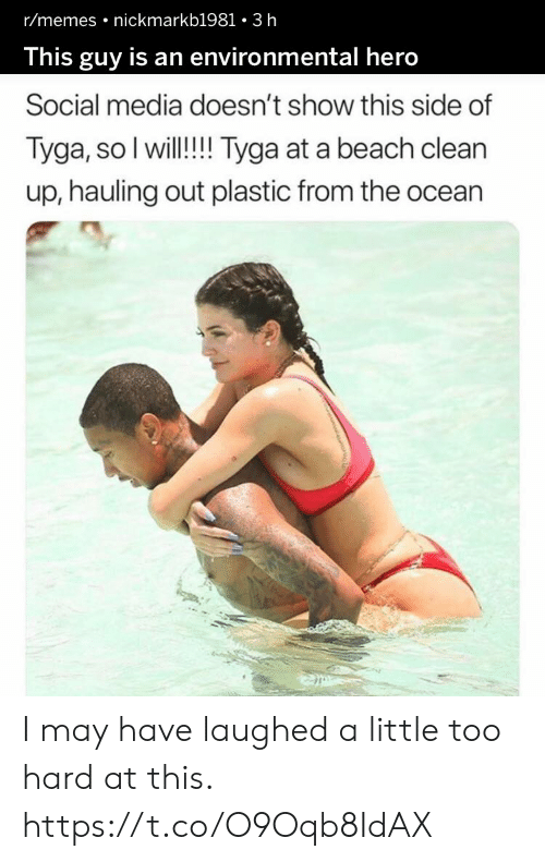 Funny, Memes, and Social Media: r/memes nickmarkb1981 3 h  This guy is an environmental hero  Social media doesn't show this side of  Tyga, so I will!! Tyga at a beach clean  up, hauling out plastic from the ocean I may have laughed a little too hard at this. https://t.co/O9Oqb8IdAX