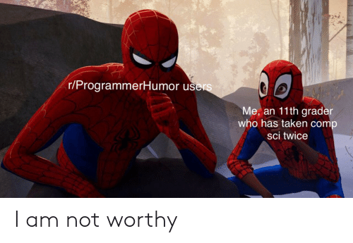 Taken, Who, and Sci: r/ProgrammerHumor u  Me, an 11th grade  who has taken comp  sci twice I am not worthy