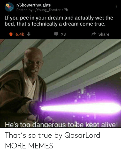 A Dream: r/Showerthoughts  Posted by u/Young_Toaster 7h  If you pee in your dream and actually wet the  bed, that's technically a dream come true.  6.4k  78  Share  He's too dangerous to be kept alive! That's so true by QasarLord MORE MEMES