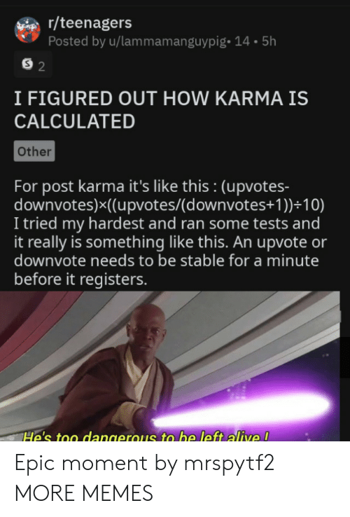 Calculated: r/teenagers  Posted by u/lammamanguypig- 14.5h  S 2  I FIGURED OUT HOW KARMA IS  CALCULATED  Other  For post karma it's like this : (upvotes-  downvotes)x((upvotes/(d ownvotes+ 1 ))+10)  I tried my hardest and ran some tests and  it really is something like this. An upvote or  downvote needs to be stable for a minute  before it registers.  He's too dangerous to be left alive ! Epic moment by mrspytf2 MORE MEMES