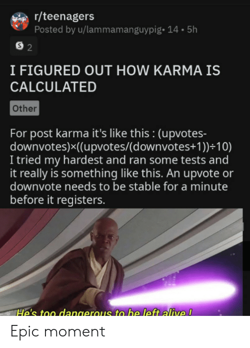 Calculated: r/teenagers  Posted by u/lammamanguypig- 14.5h  S 2  I FIGURED OUT HOW KARMA IS  CALCULATED  Other  For post karma it's like this : (upvotes-  downvotes)x((upvotes/(d ownvotes+ 1 ))+10)  I tried my hardest and ran some tests and  it really is something like this. An upvote or  downvote needs to be stable for a minute  before it registers.  He's too dangerous to be left alive ! Epic moment