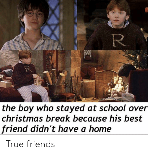 best friend: R  the boy who stayed at school over  christmas break because his best  friend didn't have a home True friends