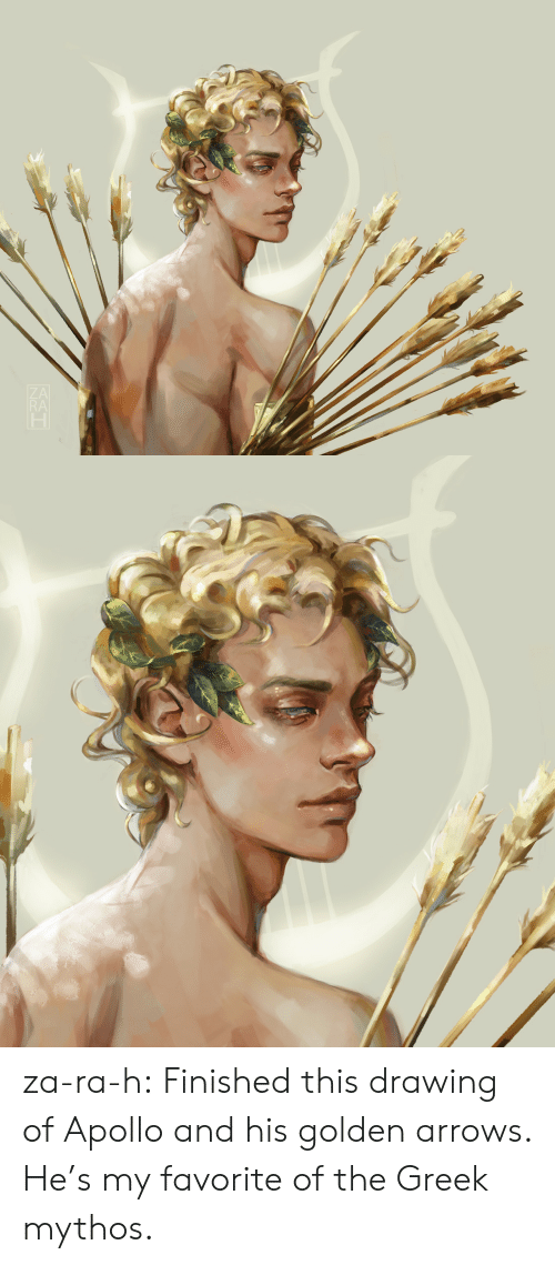 Apollo: RA za-ra-h:  Finished this drawing of Apollo and his golden arrows. He's my favorite of the Greek mythos.