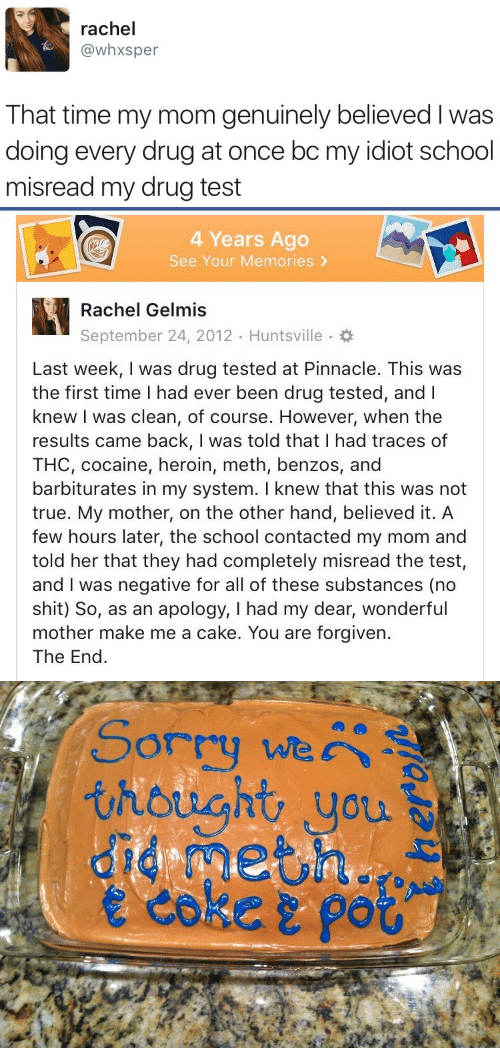 Heroin, School, and Shit: rachel  @whxsper  That time my mom genuinely believed I was  doing every drug at once bc my idiot school  misread my drug test   4 Years Ago  See Your Memories >  Rachel Gelmis  September 24, 2012 Huntsville.  Last week, I was drug tested at Pinnacle. This was  the first time I had ever been drug tested, andl  knew I was clean, of course. However, when the  results came back, I was told that I had traces of  THC, cocaine, heroin, meth, benzos, and  barbiturates in my system. I knew that this was not  true. My mother, on the other hand, believed it. A  few hours later, the school contacted my mom and  told her that they had completely misread the test,  and I was negative for all of these substances (no  shit) So, as an apology, I had my dear, wonderful  mother make me a cake. You are forgiven.  The End   Sorry we  thought you