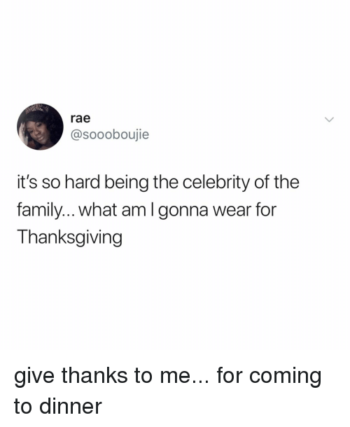its so hard: rae  @soooboujie  it's so hard being the celebrity of the  family.. what amlgonna wear for  Thanksgiving give thanks to me... for coming to dinner