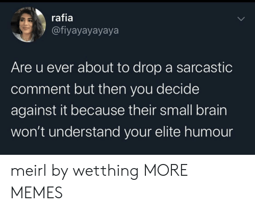Decide: rafia  @fiyayayayaya  Are u ever about to drop a sarcastic  comment but then you decide  against it because their small brain  won't understand your elite humo meirl by wetthing MORE MEMES