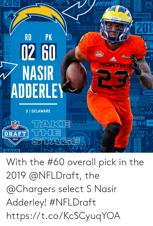 ais: RAFT  APRIL  CHARGERS  GELES n10  LA  Riddell ..  201  LA  EUTURE  02 60  NASIR 23  SHIN  Reeses S  ais  NORT  ADDERLE  LOS  S DELAWARE  2019  ARGERS  T2019  FUTURE  NFL  DRAFT|  RAFTTCHE  Lil  S NOW  2019  ID  1010 With the #60 overall pick in the 2019 @NFLDraft, the @Chargers select S Nasir Adderley! #NFLDraft https://t.co/KcSCyuqYOA