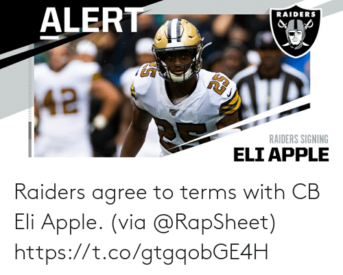 via: Raiders agree to terms with CB Eli Apple. (via @RapSheet) https://t.co/gtgqobGE4H