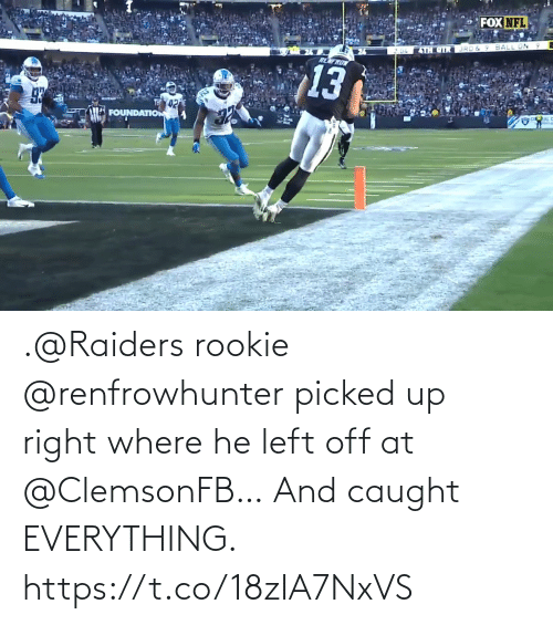 Caught: .@Raiders rookie @renfrowhunter picked up right where he left off at @ClemsonFB…  And caught EVERYTHING. https://t.co/18zIA7NxVS