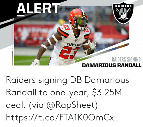 deal: Raiders signing DB Damarious Randall to one-year, $3.25M deal. (via @RapSheet) https://t.co/FTA1K0OmCx